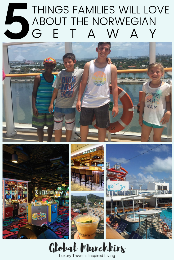 There is nothing better than embarking on a cruise and sailing away on a beautiful ship to new and exciting places. Especially, when said ship has incredible service, delicious eateries, waterslides and pools, a slew of activities & more! And, that is exactly what the NCL's Getaway has in store. Here are 5 things that surely your family will love about the norwegian getaway! #cruise #norwegian #ncl #travel
