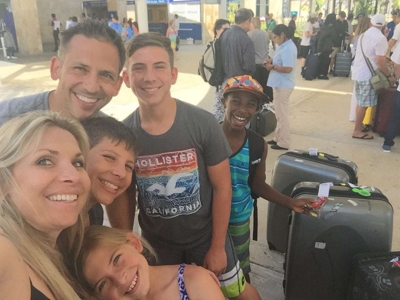 Happy family at the Cancun airport
