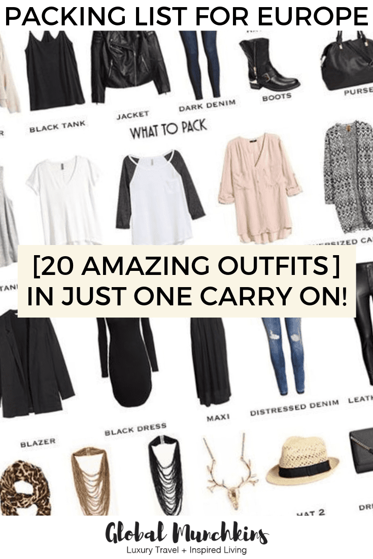 Packing for 10 days in Europe in only a small carry on. Can you do it? Well you better check out our goal for our packing list for Europe…20 amazing outfits in just a single carry on! #packingtips #packing #ootd #travel #outfit #tips #helpfultips #traveltips
