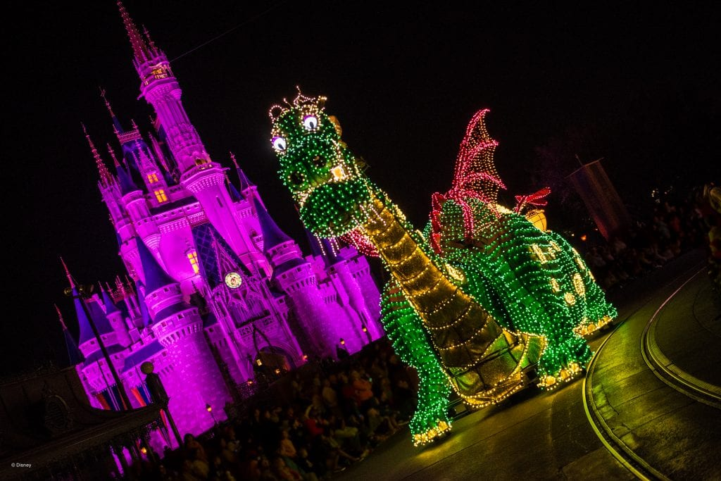 Pete the Magic Dragon in the Main Street Electrical Parade at Walk Disney World | Global Munchkins