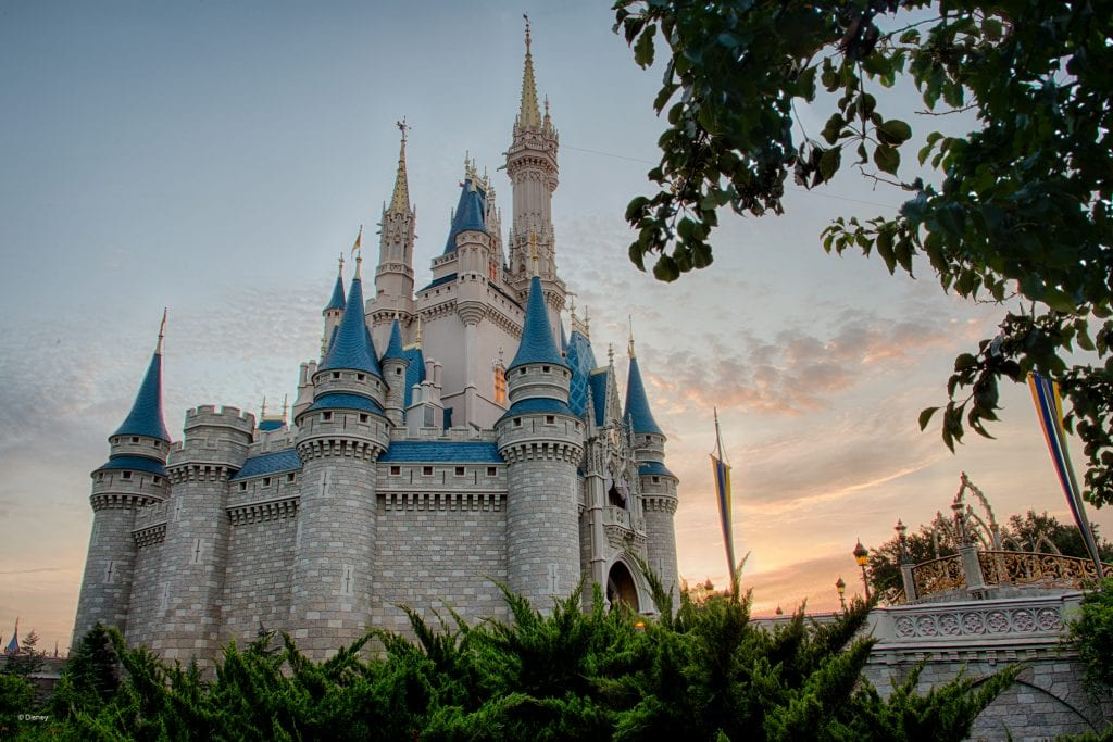 Distant shot of Cinderella's Castle at Magic Kingdom at sunset | Global Munchkins