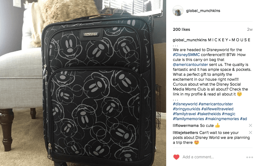 American Tourister Mickey Suitcase for attendees of DisneySMMC | Global Munchkins