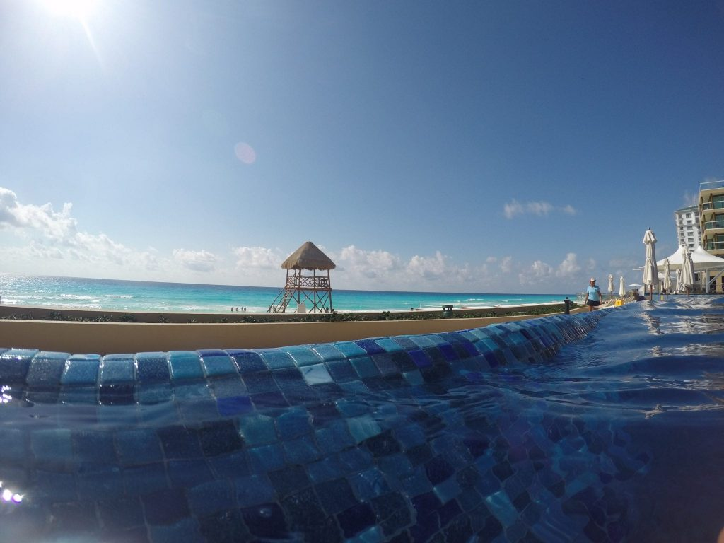 Hard Rock All Inclusive Cancun Beach. View from pool
