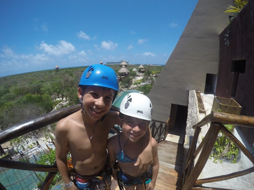 Getting ready to go on the zip coaster at Maya Park- lost Mayan kingdom in Costa Maya Mexico. Great shore excursion.
