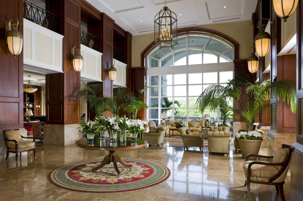 lobby at the Ballantyne Resort in NC | Global Munchkins