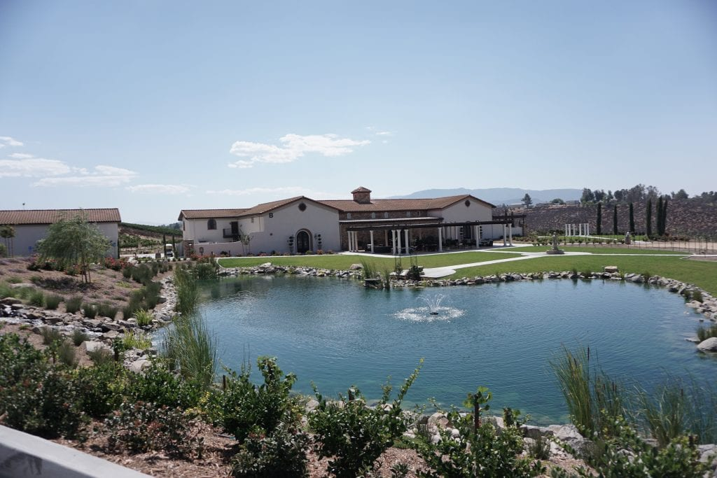 The gorgeous property at Avensole Winery complete with Koi filled pond. One of the newest Temecula Wineries | Global Munchkins