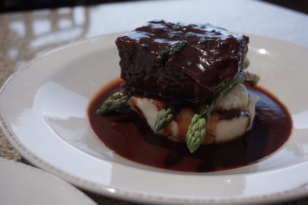 Beef Shortrib from the Restaurant at Avensole Winery complete with Koi filled pond. One of the newest Temecula Wineries | Global Munchkins