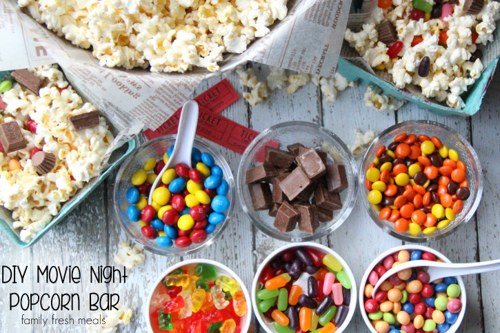 Mommy & Me Date Ideas- DIY Popcorn Bar by Family Fresh Meals featured on Global Munchkins