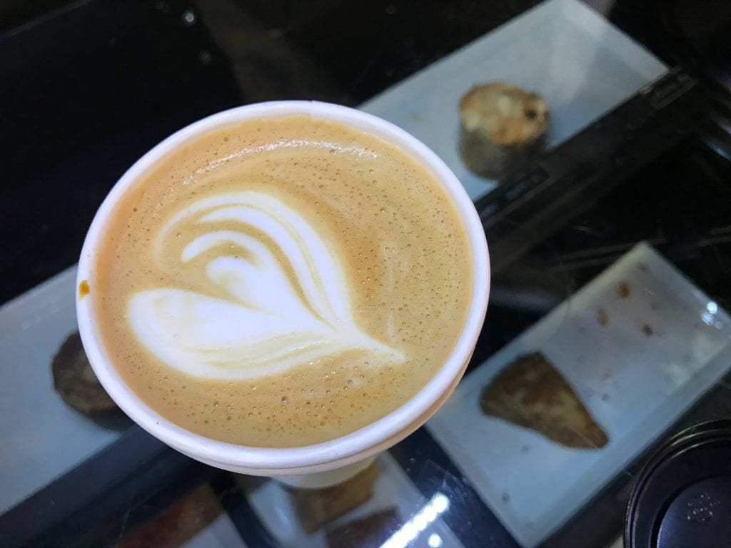 Delicious latte from Ink & Bean coffee shop located on Center Street in Anaheim. A great Anaheim attraction for couples.