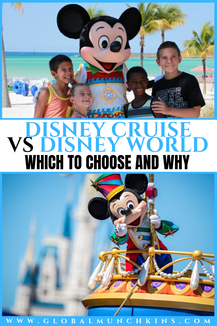 Disney Cruise vs Disney World, have you ever wondered which of the two Disney Vacations would be right for your family? Let me open your eyes to the pros and cons of both of these awesome family vacations. #disney #cruise #disneycruise #disneyworld #vacations #familyvacation #pros #cons #traveltips #travel #trip