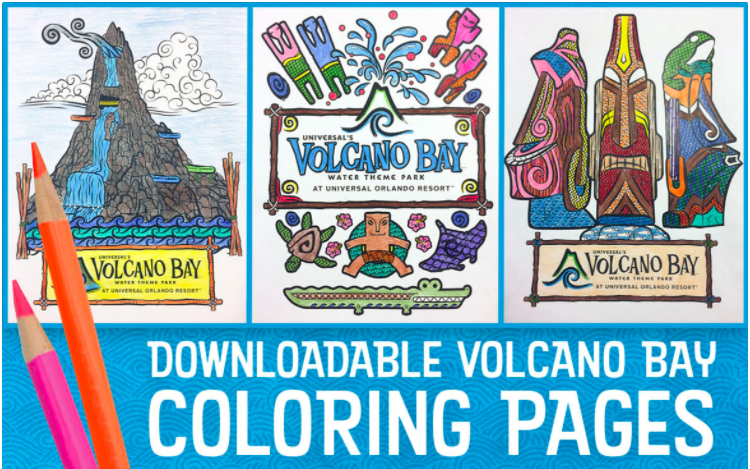 FREE Coloring Pages for Volcano Bay. NO LINES at Universal Orlando's newest theme park- Volcano Bay Water Park opens May 25th 2017! Read more about the TAPUTAPU bands and this INCREDIBLE Theme Park/ Water Park by clicking through to the post. #UniversalOrlando #VolcanoBay #OrlandoWaterPark #UniveralWaterPark #UniversalVolcanoBay