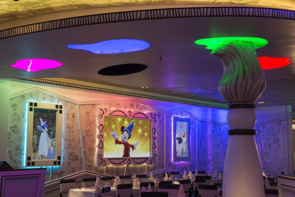 One of the most popular restaurants on the Disney ships, Animator's Palate on the Disney Magic is updated with all-new, animation-adorned walls and larger high-definition flat-screens to provide the best views of the animation magic that takes place all around. At Animator's Palate, the room comes to life as guests are immersed in the wonder of Disney animation during magical interactive dinner shows. (Jimmy DeFlippo, photographer)
