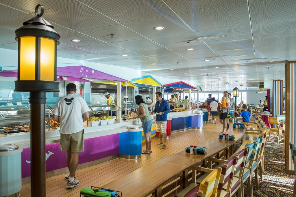 "On the Disney Magic, Cabanas offers guests a casual dining experience with food and beverage stations, breathtaking ocean views, and indoor and outdoor seating. Drawing inspiration from Australian influences with uniquely Disney touches, Cabanas creates a sunny ""down under"" atmosphere for guests. (Matt Stroshane, photographer)"