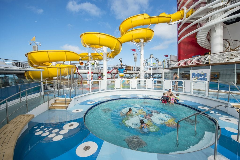 The new AquaLab water playground on the Disney Magic is a fun and fanciful area for families to frolic among pop jets, geysers and bubblers. Interactive games keep kids moving, while the Twist 'n' Spout water slide gets them delightfully drenched. (Matt Stroshane, photographer)
