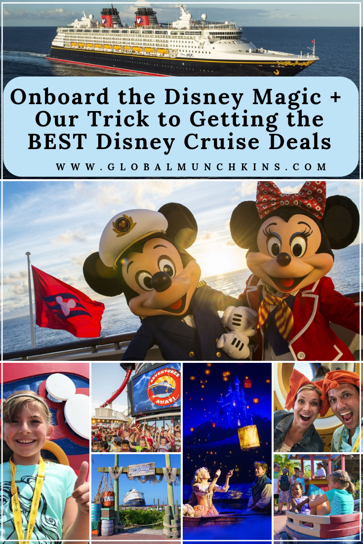 Take a peek inside the reimagined (recently renovated) Disney Magic + learn our trick to getting the BEST Disney Cruise Deals! #cruise #cruisetips #deals #tips #traveltips #familyvacation #vacation #disneymagic #disney #travel #trip