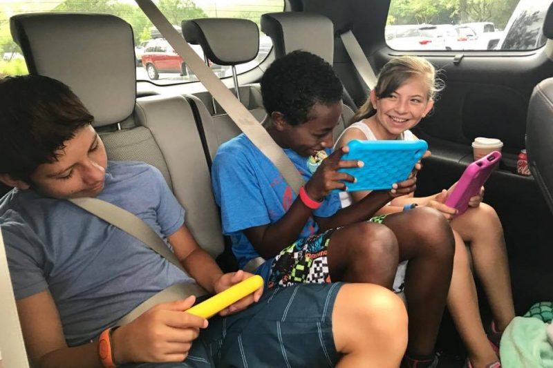 Technology is a major must have when on a two-week road trip with kids in tow.