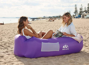 inflatable lounger, blow up chair, camping chair, beach chair