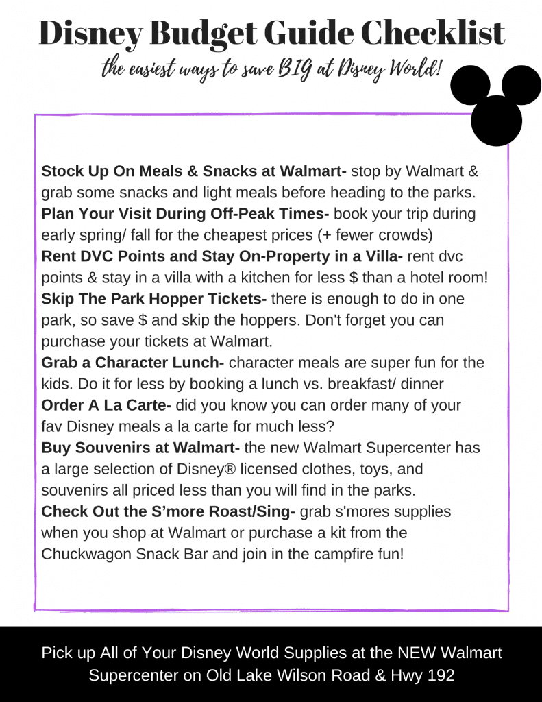 [AD] Disney World Budget Guide Checklist. Everything you need to know about saving money at Disney World including why you will LOVE the NEW Walmart near Disney World. You can use online grocery pick up and grab your groceries without ever leaving the car + so much more!