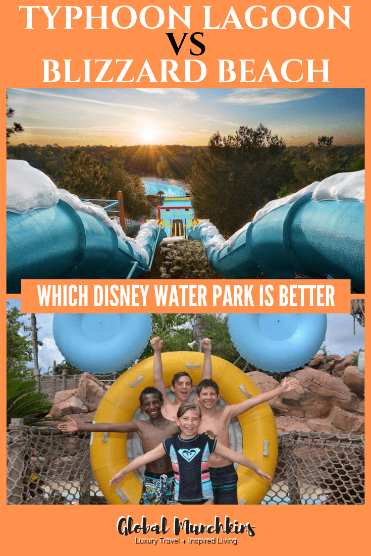 Disney World is known for their 4 amazing theme parks, but often forgotten is two incredible water parks that are a part of Disney World. Often times on our trip we find that we only have time to visit one of the two Disney water parks which lead to the battle of which water park is better. The Typhoon Lagoon vs Blizzard Beach battle. So, if you are in the same dilemma here are some of our best tips and recommendations to help you decide which park to visit. #disneyworld #disney #typhoonlagoon #blizzardbeach #familyvacation #traveltips #travel #familytravel #vacation #waterpark