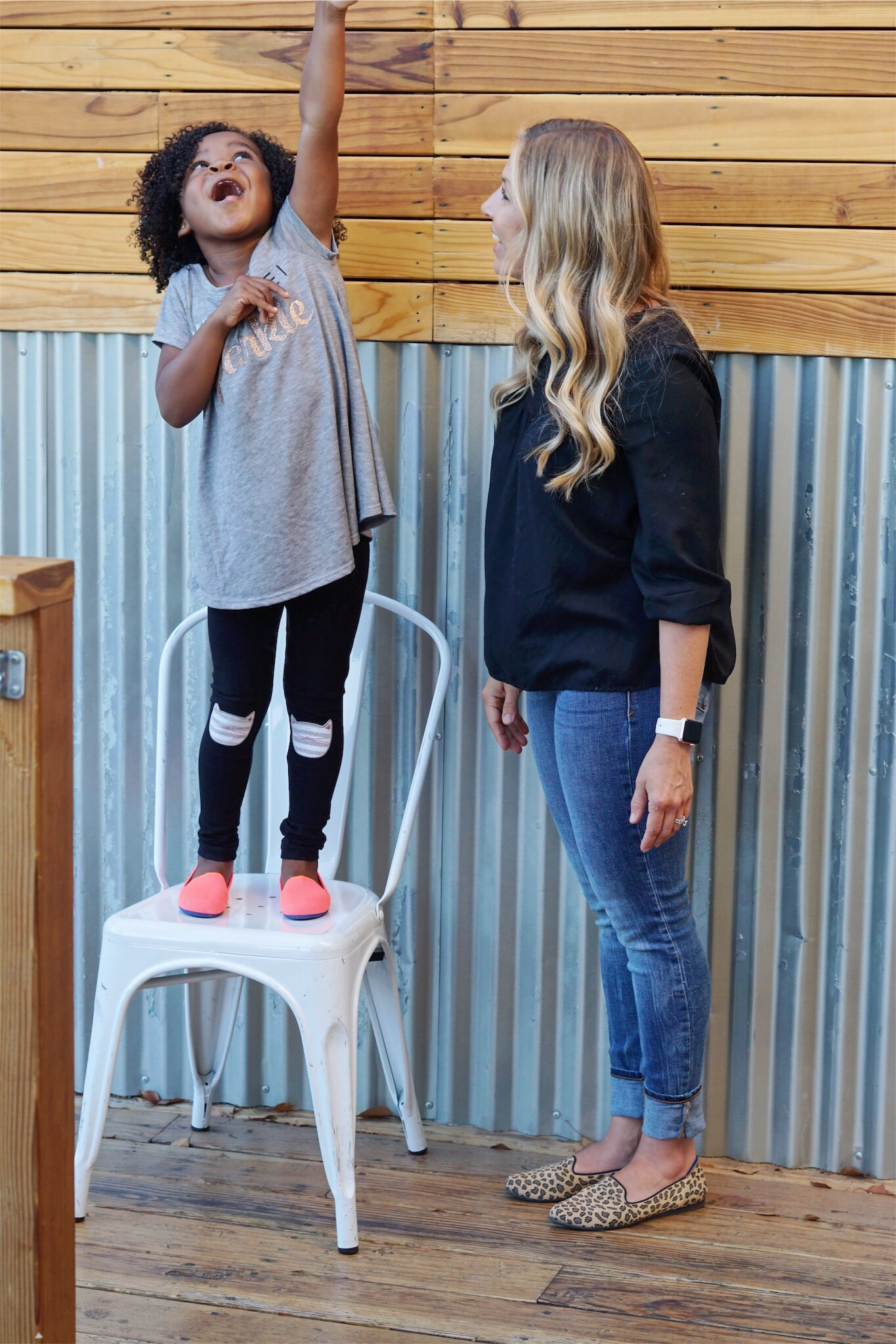 Adoptive Mom and Daughter with Rothy's Sustainable Shoes