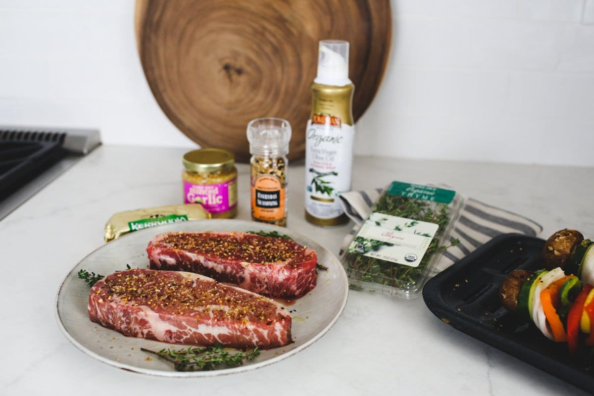 Pan Seared New York Strip Steak Recipe featuring Omaha Steaks NY Strips. Cooked in a cast iron skillet.