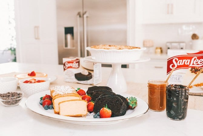 #AD I love to host, but I don't love to spend all of my time in the kitchen which is why when the holidays come around I rely on Sara Lee Desserts to do all of the baking. One of my favorite ways to serve them is part of a super simple Holiday Dessert Bar. Everything is store-bought but it looks and feels homemade. It's the best of both worlds + it always wows my guests. Try it yourself today. Find all of the details plus a full list of my favorite topping options (including a few that will surprise you) on my blog www.GlobalMunchkins.com or by clicking through to the link in this pin. #BringSaraLee @saraleedesserts