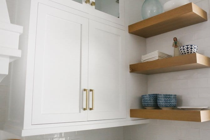 Floating Kitchen Shelves and custom white kitchen cabinetry