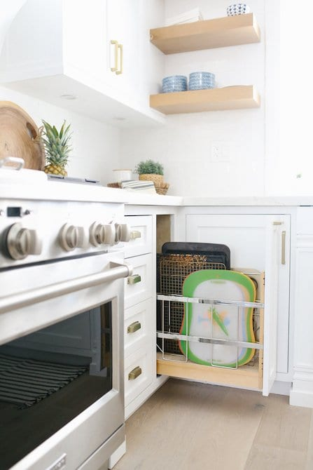 Pull out cookie sheet drawer custom kitchen cabinetry