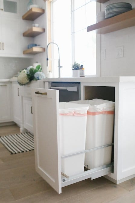Custom pull out trash can in kitchen