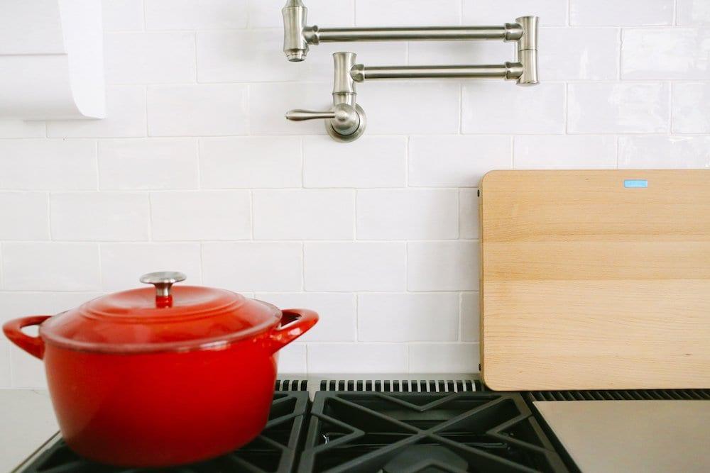 White Tile Backsplash in Kitchen- Jeffrey Court Paloma