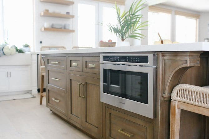 Built In Drawer Microwave by Monogram. Built into our kitchen island.
