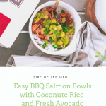 #AD Grilled Salmon Bowl recipe with a fresh avocado mango salsa and coconut rice. I always use Wild Alaskan Sockeye Salmon from Omaha Steaks. It comes with the skin-on making it perfect for the grill.