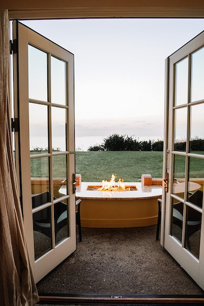 fireside room at Ritz Carlton
