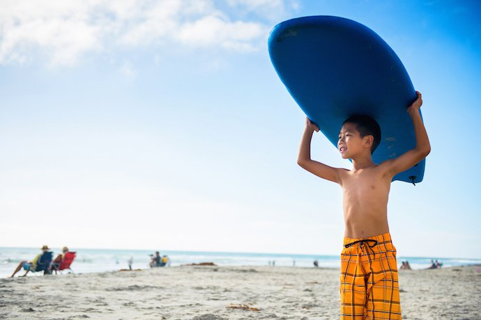 Kid Surfing at the Beach Photo Credit Visit Oceanside