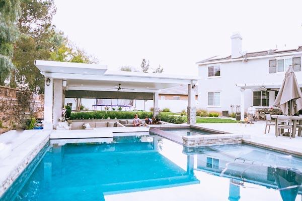 resort style living pool and backyard oasis